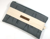 Gathered Clutch - Charcoal, Ivory and Pink - Made to Order