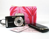 Small Zip Wallet or Coin Pouch - Passion Lily in Cerise Pink - Made to Order