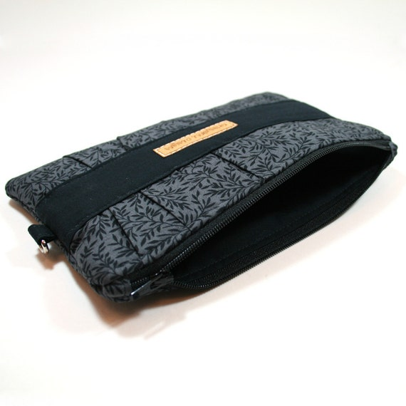 Zippered Clutch - Black and Dark Gray - Made to Order