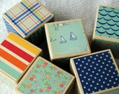 Seaside Patterned and Milk Painted Wooden Blocks (Set of Six)