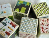 Metro Patterned and Milk Painted Wooden Blocks (Set of Six)