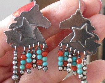 Western Star Earrings with Turquoise and Coral Bead Accents