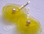 Summer hair flower bobby pins set/yellow/pearl