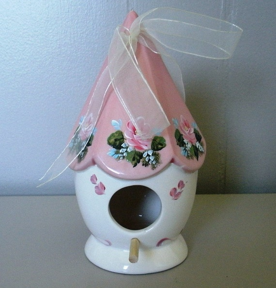 Pink Tole Hand Painted Birdhouse Ceramic Cottage Roses Home Decor OOAK Garden Shabby Chic