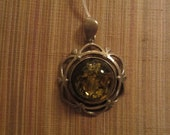 Green Amber Sterling Silver Pendant