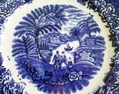 Flow Blue Transferware Plate Anitque English Staffordshire Eton College Romantic Cottage Chic Home Decor Cobalt Blue  White Pottery