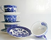 4 Transferware Cups & Saucers,  Japan, Blue Willow mismatched patterns