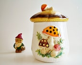 Kitchen Canister Kitschy Sears Ceramic Mushrooms & Toadstools 70s