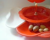 California Pottery  3 Tiered Snack Tray Holiday Entertaining Orange
