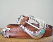 Vintage Western Belt Womans Brown Leather  Designer Olga SantiniBlack Friday/ Cyber Monday