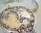Antique Silver Hand Mirror Art Nouveau  Repousse Cherub, Luxury Gift