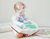 Vintage Herend Figurine, Collectible Hungarian China, Girl & Book