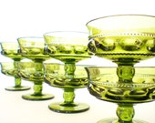 Vintage Green Glass Dessert Sherbet Bowls Crown Stemware Indiana Co