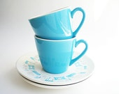 Mid Century China Cups  Vintage Mod Atomic Turquoise Blue