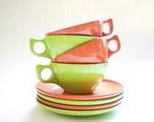 Vintage Melamine Cups & Saucers /  Mid Century Melmac