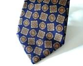 Vintage Necktie, Monaco Blue Silk Designer Neck Tie Classic Geometric Pattern Mens Vintage Fashion