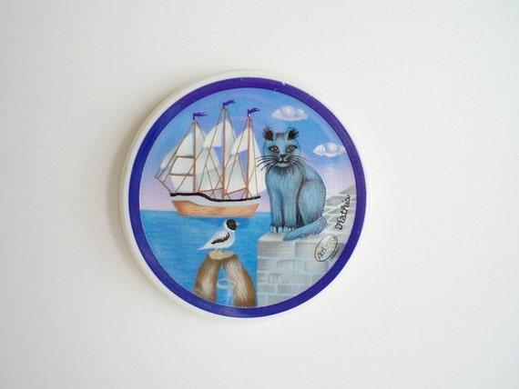 Arzberg Ceramic Tile, Folk Art Cat,  Vintage Collectible Porcelain Plaque, Blue Nautical Scene