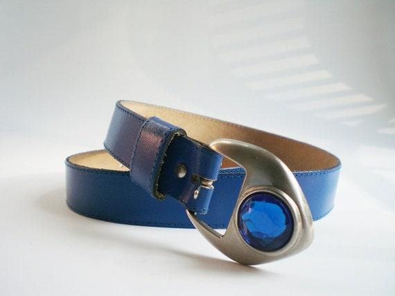 Cerulean Blue Belt, Vintage Blue Leather Belt,  Sapphire Blue Jewel in Silver Buckle, Retro Fashion