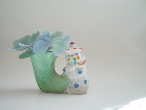 Vintage Miniature Vase Sweet Polka Dot Clown from Japan