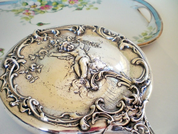 Antique Silver Hand Mirror Art Nouveau  Repousse Cherub, Luxury Gift