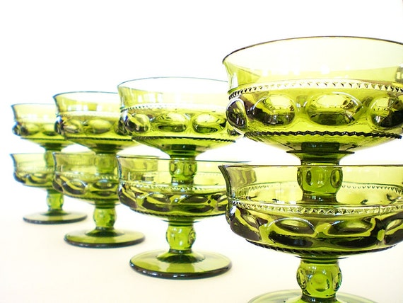 Vintage Green Glass Dessert Sherbet Bowls Crown Stemware Indiana Co
