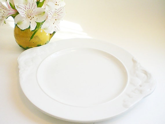 Vintage White Ironstone Serving Plate Antique T & R Boote