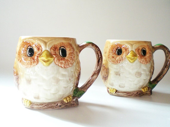 2 Vintage Coffee Mugs / Wise Owls a Mary Ann Baker Design