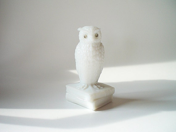 Vintage Owl Figurine Collectible Milk Glass Bird Statue  by Westmoreland
