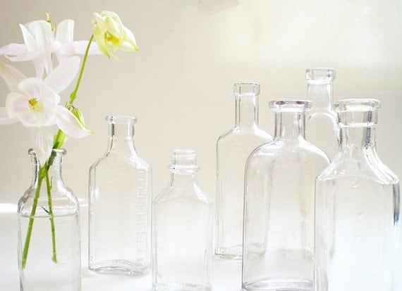 Vintage apothecary bottle collection,  shabby chic vase mix