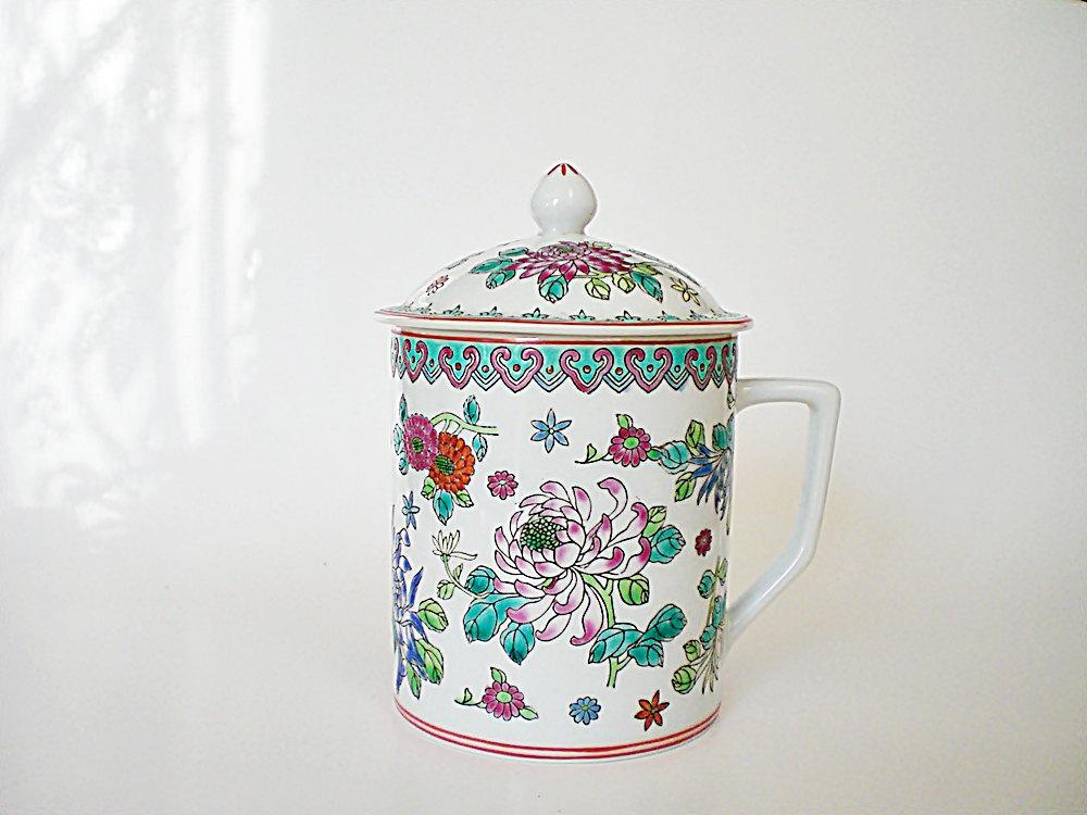 vintage tea cup with lid large mug in oriental cloisonne. Black Bedroom Furniture Sets. Home Design Ideas