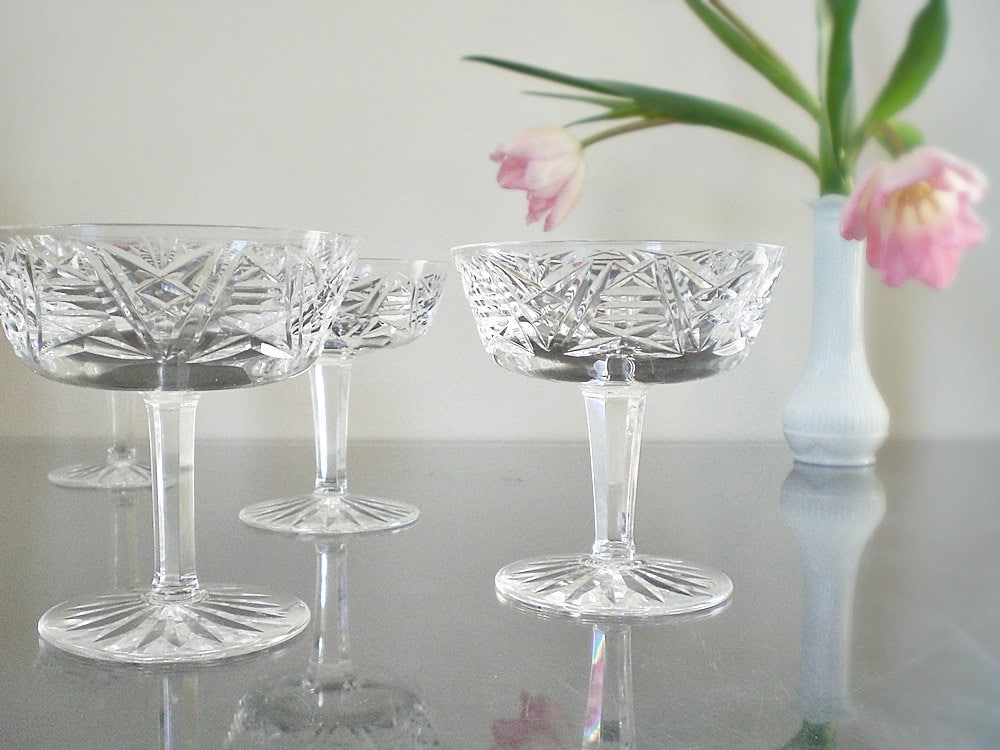 Vintage Champagne Glasses Mid Century Waterford Stemware