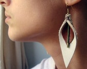 Layered Leather Calla Lily Statement Earrings