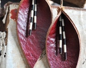 Shakespearean Rustic Red Genuine Leather Earrings