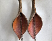 Burnt Orange Genuine Leather Calla Lily Earrings with Chain