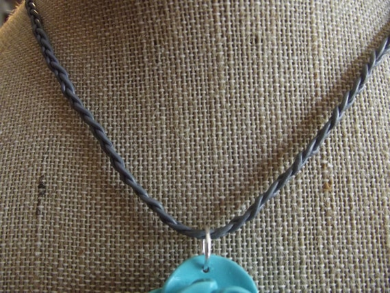Thin Grey Braided Leather Cord Necklace