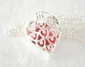 Red Seaglass Necklace - Seaglass Filled Heart Locket -  Seaglass Jewelry - Heart Necklace