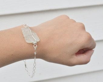 Aqua BlueSeaglass Bracelet - Sterling Silver Seaglass Jewelry