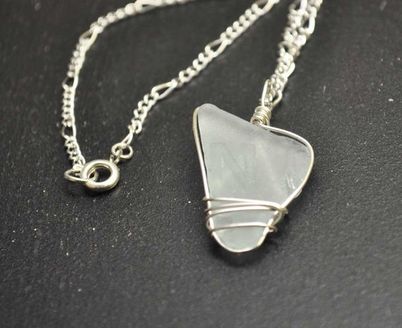 Seaglass Necklace with the Letter N - Wire Wrapped Light Blue Seaglass Lewelry