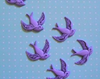 Retro Purple Bird Cabochons 12pc