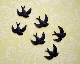 Black Bird Buttons 12pc