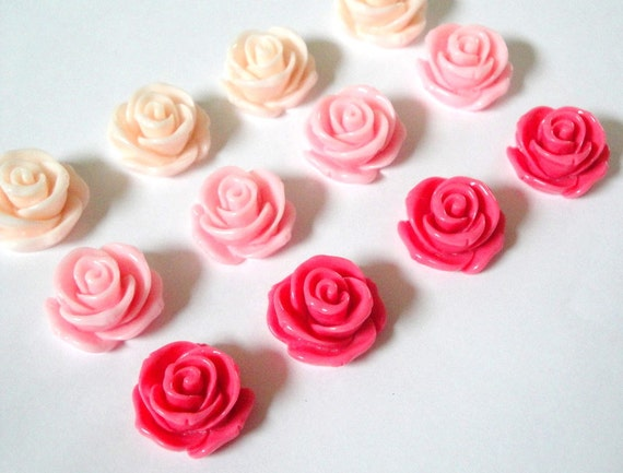 Large Resin Roses 23mm 12pc