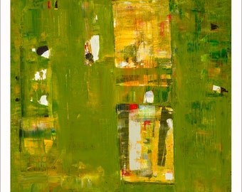 Iodine Abstract Art Print Giclee Limited Edition Green 18x18