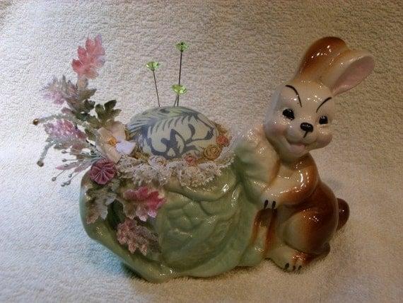 Pincushion Bunny with Cabbage Vintage Planter Pin Cushion Pin Keep
