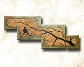 """Multiple Canvas Textured Painting of Raven on Branch -- 56"""" long -- The Raven's Stand by Britt Hallowell"""