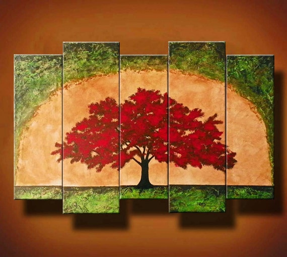 ON SALE Five Canvas Textured Tree Painting -- Green Tan and Red -- The Ruby Path -- by Britt Hallowell