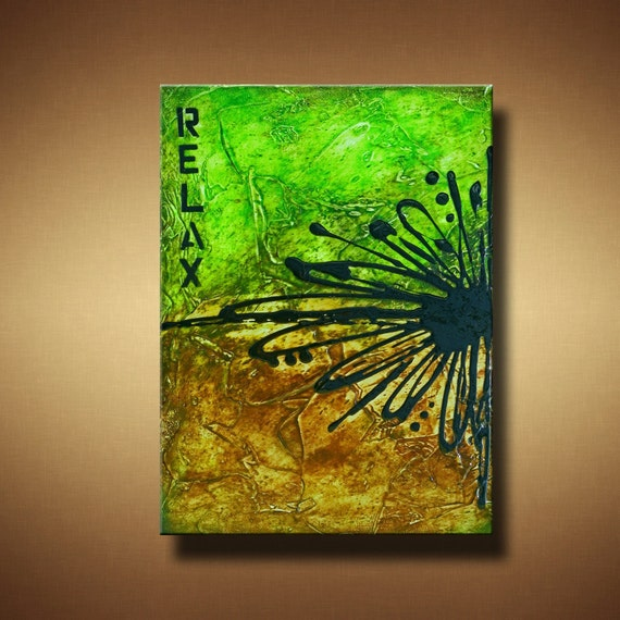 Green and Brown 12 x 18 Original Textured Abstract Painting -- Relax