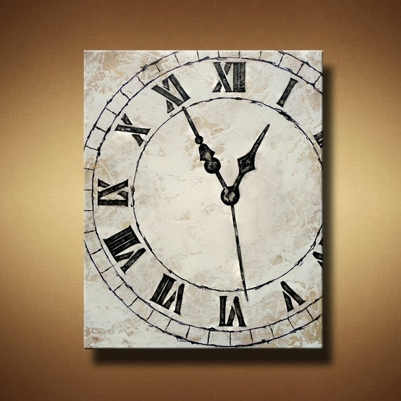 Clock Painting with Heavy Texture -- 24 x 30 -- White and Cream -- My Constant -- by Britt Hallowell
