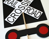 Train Birthday Party - Railroad Crossing Sign centerpieces, train party decoration
