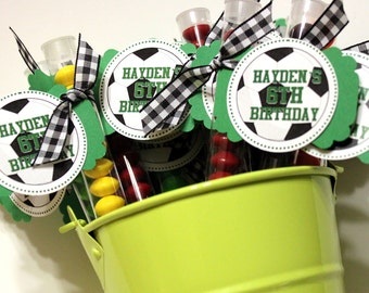 Sports party favors (40)  treat stacks, baseball, football, soccer, tennis, volleyball, basketball, bowling  - personalized