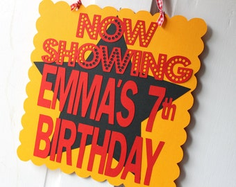 NOW SHOWING - Movie Night birthday sign - personalized